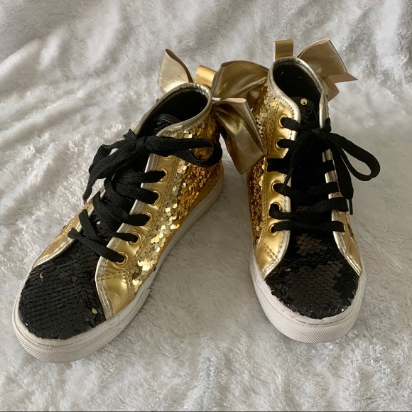 JoJo Siwa Shoes | Black And Gold Sequin